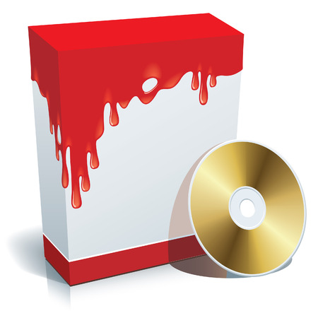 bloodshed: Blank 3d box with bloody background and CD. Illustration