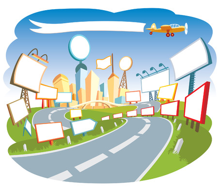 Road to a city center, nice template for a web page. Stock Vector - 3323121