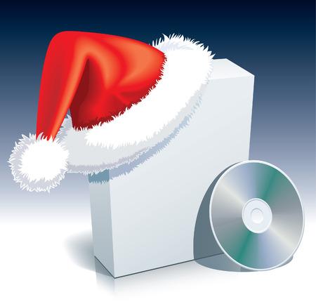 Santa Claus cap on a software box with CD. Vector