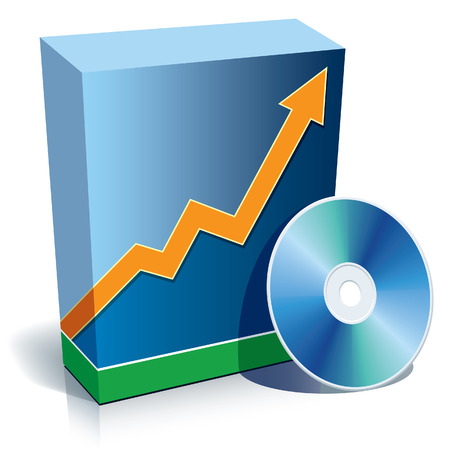 Blue blank 3d box with a graph and CD. Vector