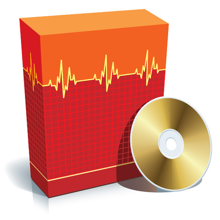 pulsation: Red blank 3d box with medical software and CD. Illustration