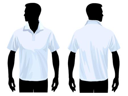 polo: Men's polo shirt sjabloon met menselijk lichaam silhouet