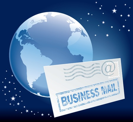 Flying envelope and globe over blue background Stock Vector - 3352547