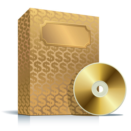 Golden software box with dollar background and CD Vector