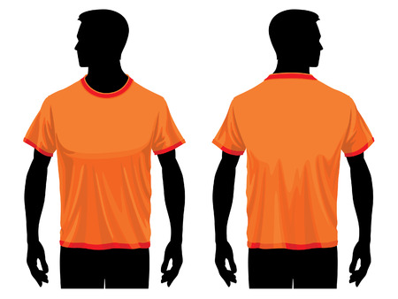sleeved: Mens t-shirt template with human body silhouette