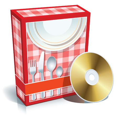 arranging: Red blank box with cooking software and CD.