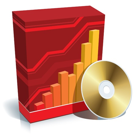 cd: Red blank 3d box with a graph and CD.