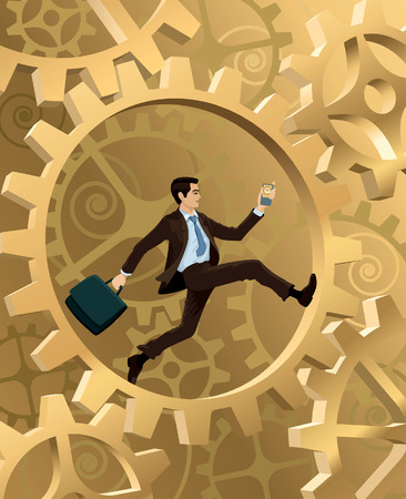 A young businessman is running inside corporate machinery Vector