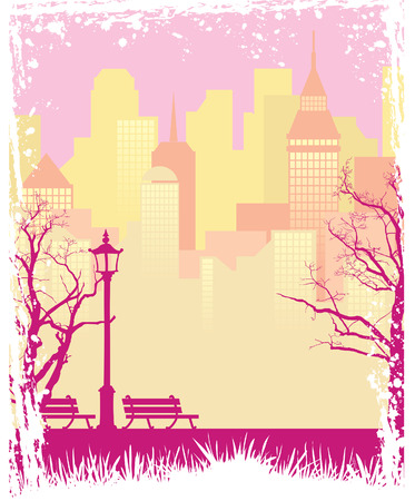 Grunge autumn background with a town and a park Vector