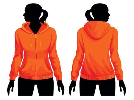 sweatshirt: Women's Sweatshirt Vorlage mit menschlichen K�rpers Silhouette Illustration