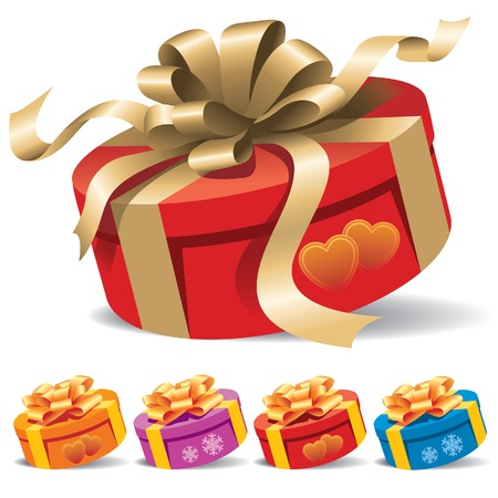 A round gift box with a ribbon on white background Vector