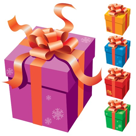 A gift box with a ribbon on white background Vector