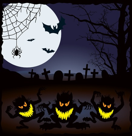 tomb: Halloween demonic night, vector illustration