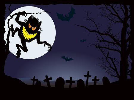 demonic: Demonic night, vector illustration for Halloween holiday