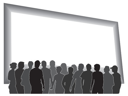 People are looking at a large blank billboard. Vector
