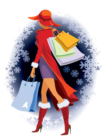 Winter background and a girl with shopping bags Vector