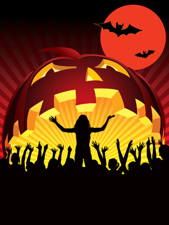 Demonic concert or amazing party in the Halloween night Vector
