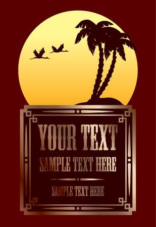 logotipo turismo: Marco de �poca de oro con dise�o tropical verano