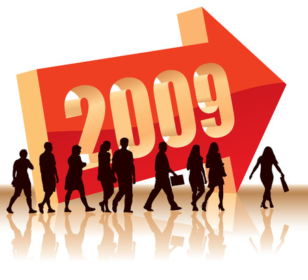 People are going to a new direction - Year 2009 Stock Vector - 3734865