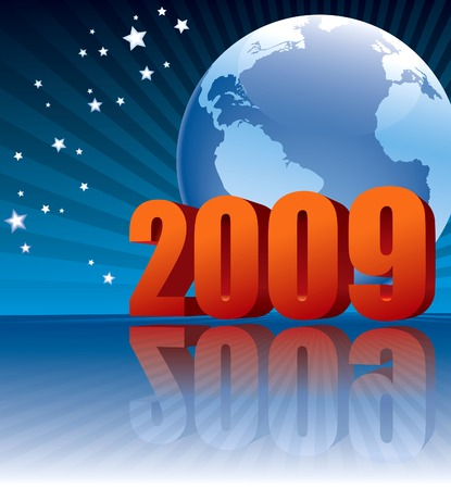 New Year 2009 and Earth globe on a blue background Vector