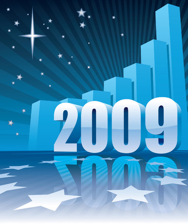 New Year 2009 and a large graph, conceptual business illustration. Vector