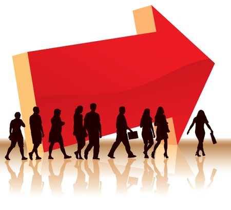 People are going to a direction signed by a big red arrow. Stock Vector - 3773056