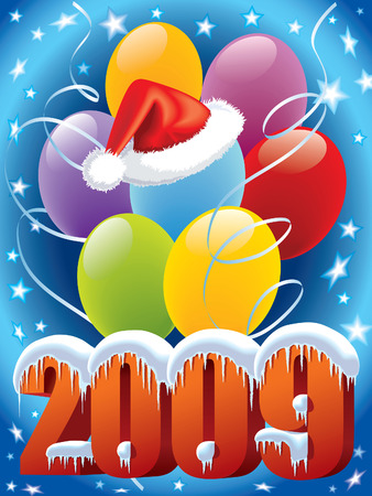 New Year decoration with Santa Claus cap and balloons Vector