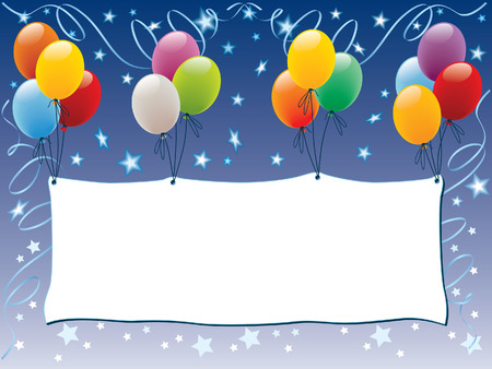 party banner: Balloons decoration with a blank banner and shining stars
