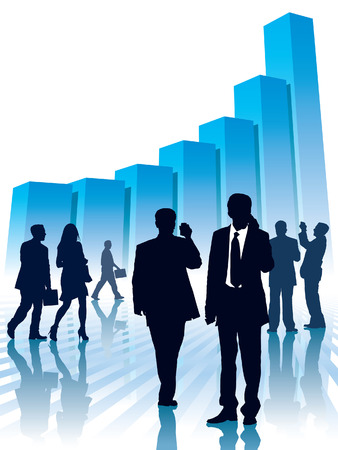 Businesspeople and a large graph, conceptual business illustration. Vector