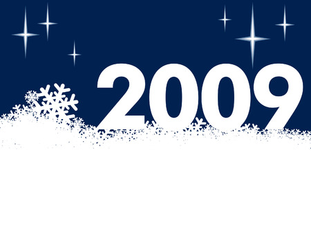 New Year 2009 and a white snow background Vector