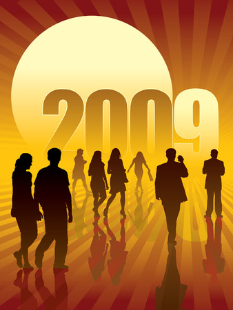 People are going to the sun and the New Year 2009. Stock Vector - 3794341