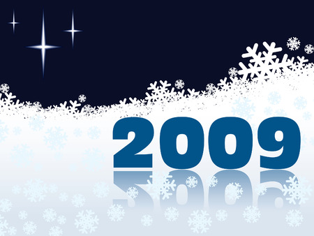 New Year 2009 on a white snow background Vector