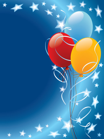 Balloons decoration with stars and wind on a blue background Vector