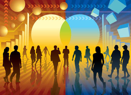 Changing the world. People are going to the changing sign, conceptual business illustration. Vector