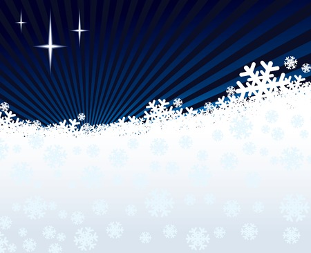 Winter night background, shining stars and white snow Vector