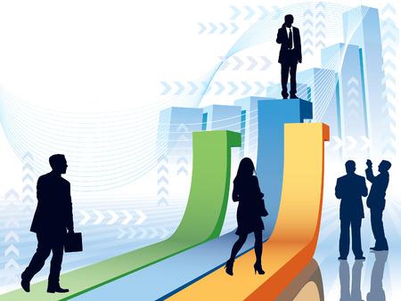 economies: Les gens vont prendre leur position, illustration conceptuelle d'affaires. Illustration