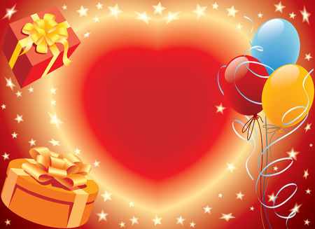 Birthday presents with heart and balloons party decoration