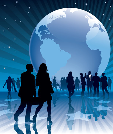People and a large earth globe, conceptual business illustration.