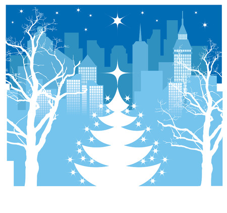 Christmas tree silhouette on a winter city background Vector