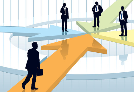 Three businessmen are waiting for another one, conceptual business illustration.