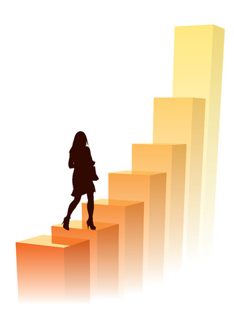 to climb: Businesswoman in a hurry, conceptual business illustration.