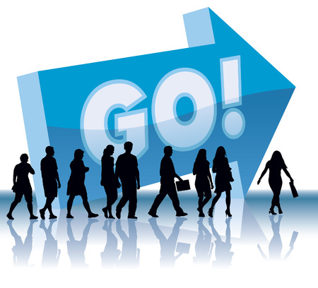 People are going to a direction - Go. Stock Vector - 3859554