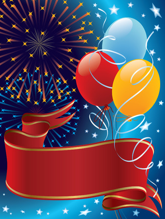Holiday decoration with banner, balloons and fireworks Vector
