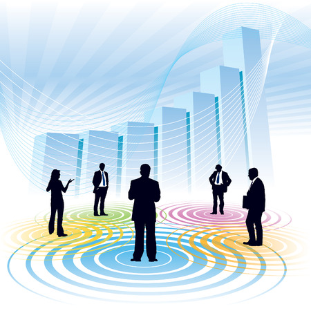 Businesspeople and a large chart in the background, conceptual business illustration. Stock Vector - 3859561