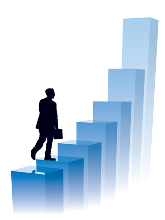 to climb: Businessman in a hurry, conceptual business illustration.