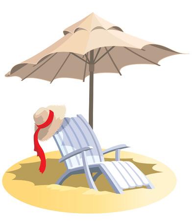silla playa: Vacaciones de verano, silla y sombrilla en una playa tropical. Vectores