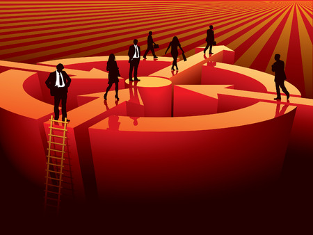 Successful people are going to find a next target, conceptual business illustration.