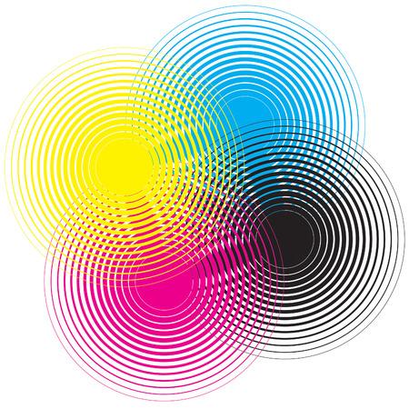 Cmyk circle texture on a white background