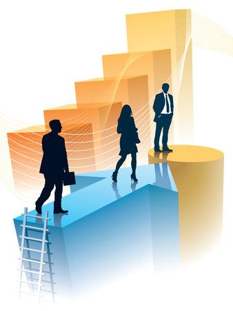 osiągnął: Ludzie sukcesu osiągnęli cel, koncepcyjne ilustracji biznesu.