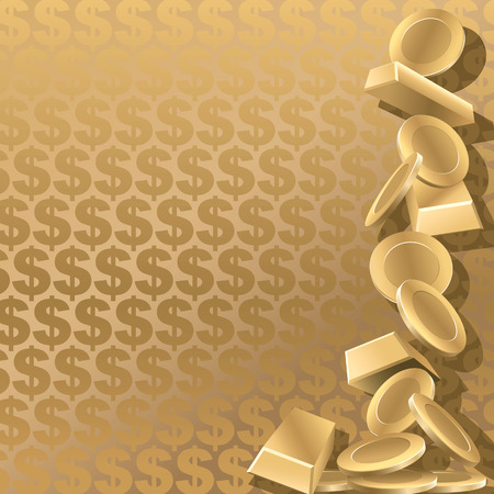 Gold coins and goldbars on a gold dollar background. Vector